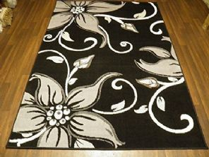 Modern Approx 6x4ft 115x165cm Woven Lily Design Rug Sale Top Quality Black/Grey